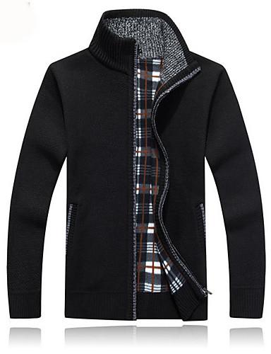 povoljno Muški džemperi i kardigani-Muškarci Jednobojni Dugih rukava Kardigan Džemper od džempera, V izrez Crn / Lila-roza / Svijetlosiva US36 / UK36 / EU44 / US38 / UK38 / EU46 / US42 / UK42 / EU50