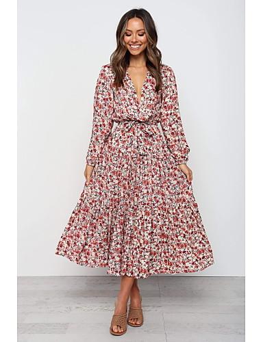 levne Maxi šaty-Dámské Šik ven Sofistikované Swing Šaty - Květinový, Mašle Plisé Tisk Maxi
