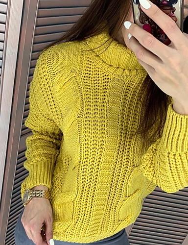 billige Dametopper-Dame Ensfarget Langermet Pullover Genserjumper, Rullekrage Rosa / Gul / Beige S / M / L