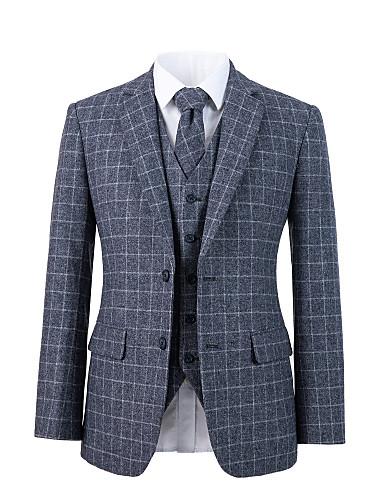 preiswerte Anzüge für Herren-grauer Anzug aus Tweedwolle mit Karomuster