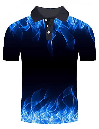 baratos Pré-Liquidação-Homens Tamanhos Grandes Polo Moda de Rua / Exagerado Estampado, Estampa Colorida / 3D / Gráfico Colarinho de Camisa Azul / Manga Curta