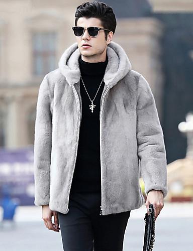 levne Pánská saka a kabáty-Pánské Denní Podzim zima Standardní Faux Fur Coat, Jednobarevné Kapuce Dlouhý rukáv Umělá kožešina Světle šedá