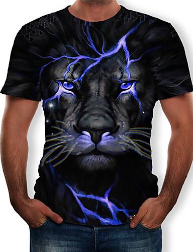 preiswerte Oberteile-Herrn 3D / Tier - Street Schick / Übertrieben Übergrössen T-shirt, Rundhalsausschnitt Gefaltet / Druck Blau / Kurzarm