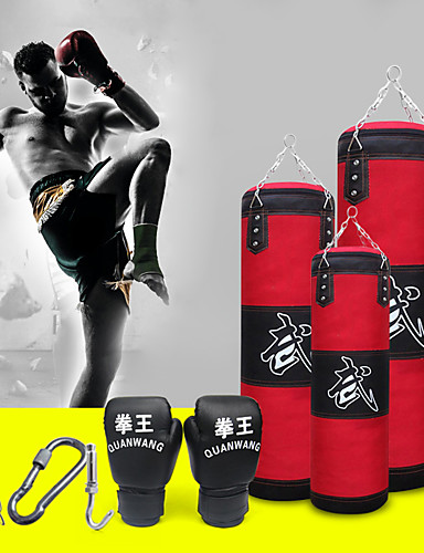 cheap Massive Clearance Sale-Punching Bag Heavy Bag Kit With Hanger Boxing Gloves Removable Chain Strap Punching Bag 1039 Taekwondo Boxing Karate Martial Arts Muay Thai Adjustable Durable Empty Strength Training 5 pcs Red