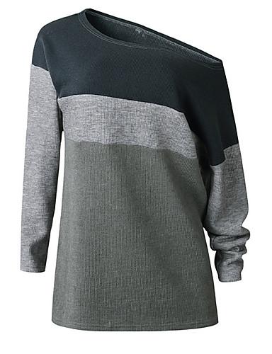 billige Dametopper-Dame Fargeblokk Langermet Pullover Genserjumper, Enskuldret Grå S / M / L