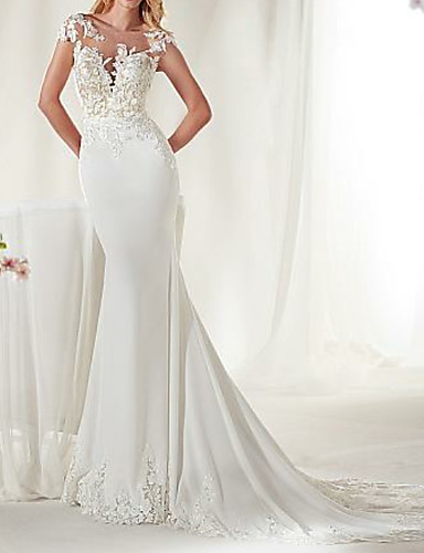 cheap Wedding Dresses-Mermaid / Trumpet Jewel Neck Court Train Satin Cap Sleeve Sexy See-Through / Illusion Detail Wedding Dresses with Lace Insert 2020
