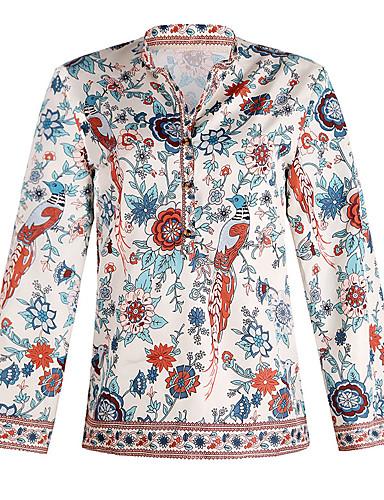 Women's Daily Weekend Street chic Shirt - Floral / Geometric Daisy, Patchwork / Print Purple