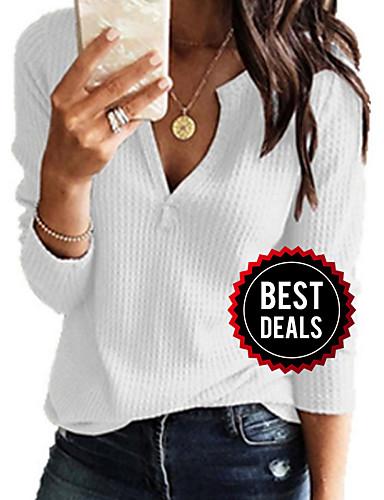 preiswerte Damen Pullover-Damen Freizeit / Grundlegend Gestrickt Solide Langarm Pullover Pullover Jumper, V-Ausschnitt Frühling / Herbst Schwarz / Weiß / Rosa S / M / L