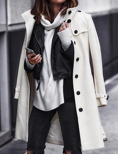 levne Dámské kabáty a trenčkoty-Dámské Denní Podzim zima Dlouhé Kabát, Jednobarevné Stojáček Dlouhý rukáv Polyester Bílá