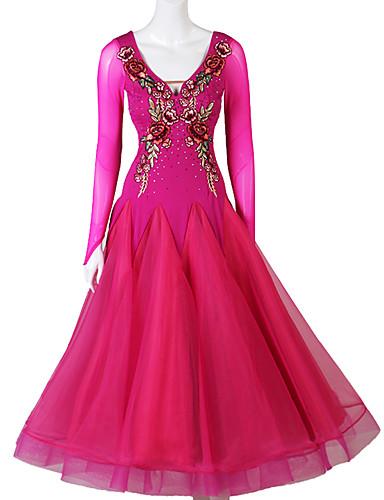 levne Shall We®-Standardní tance Šaty Dámské Výkon Spandex / Organza Výšivka / Křišťály / Bižuterie Dlouhý rukáv Šaty