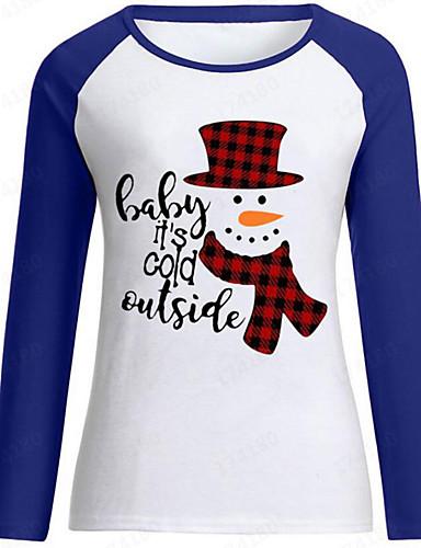 billige Dametopper-T-skjorte Dame - Bokstaver / Portrett, Lapper / Trykt mønster Vintage / Grunnleggende Snømann Svart