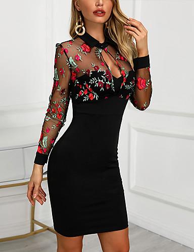 cheap 11.11- Party Night Best Seller-Women's Slim Sheath Dress - Floral Embroidered Shirt Collar Black S M L XL