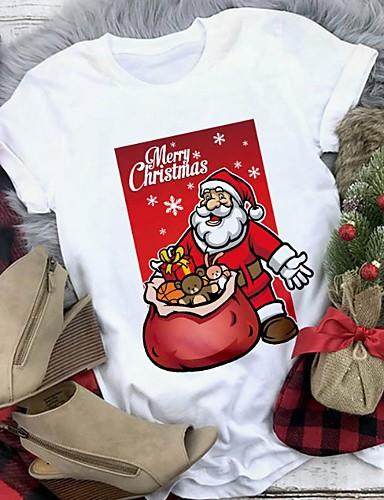 preiswerte Weihnachts-Shop-Damen Geometrisch T-shirt Weiß