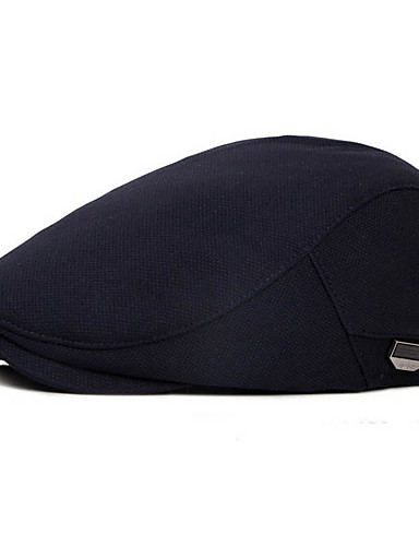 cheap Men's Hats-Men's Basic Polyester Beret Hat-Solid Colored Fall Black Navy Blue Gray