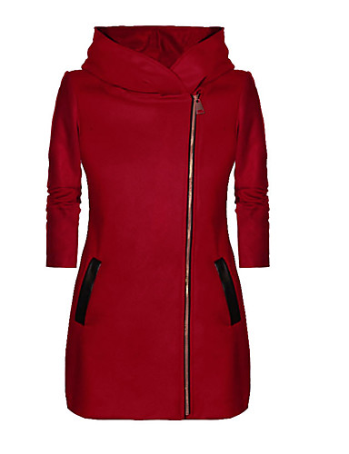 cheap Women's Outerwear-Women's Daily / Going out Spring / Fall & Winter Regular Coat, Solid Colored Hooded Long Sleeve Polyester Black / Light gray / Red