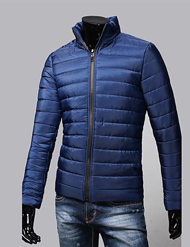 levne Pánské kabáty a parky-Pánské Jednobarevné S vycpávkou, POLY Černá / Světle modrá / Bílá US32 / UK32 / EU40 / US34 / UK34 / EU42