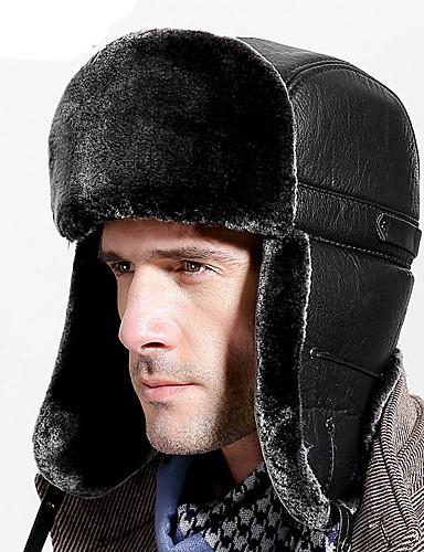 preiswerte Herrenhüte-Herrn Grundlegend,Polyester Trappermütze Solide Winter Schwarz Grau
