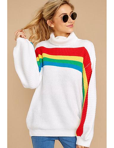 billige Dametopper-Dame Stripet Langermet Pullover Genserjumper, Rullekrage Hvit S / M / L