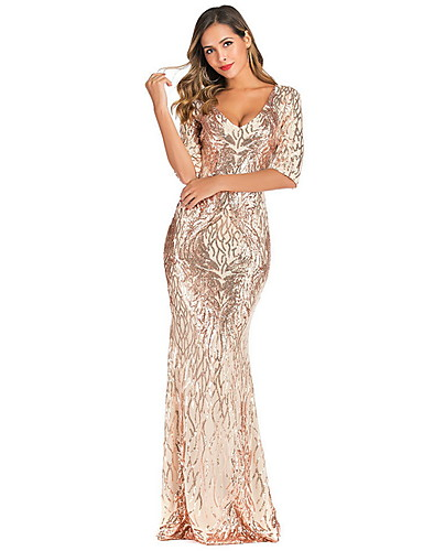 levne Maxi šaty-Dámské 1920s Elegantní Štíhlý Flapper Šaty - Jednobarevné, Flitry Maxi Hluboké V Gatsby