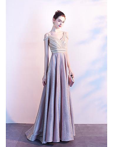 preiswerte Brautjungfernkleider-A-Linie V-Ausschnitt Boden-Länge Polyester Formeller Abend Kleid mit Perlenstickerei durch LAN TING Express / Transparente