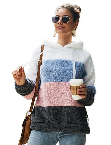 billige Dametopper-Dame Grunnleggende / søt stil Hattetrøje Fargeblokk