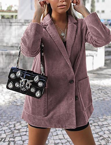 levne Dámské blejzry a bundy-Dámské Denní Jaro & podzim Standardní Bunda, Jednobarevné Košilový límec Dlouhý rukáv Polyester Černá / Světlá růžová / Vodní modrá