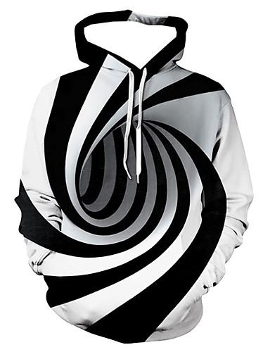 levne Pánské módní oblečení-Pánské Na běžné nošení / Základní Kapuce - Proužky / Geometrický / 3D Kapuce