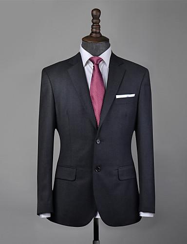 baratos Ternos personalizados para homem-terno feito sob encomenda de lã cinzenta de carvão vegetal