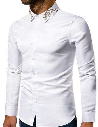 povoljno Bijele košulje-Muškarci Dnevno Majica Jednobojni Dugih rukava Tops Osnovni Obala Crn