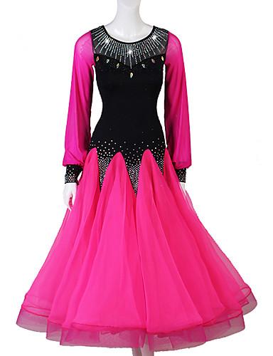 levne Shall We®-Standardní tance Šaty Dámské Výkon Spandex / Organza Křišťály / Bižuterie Dlouhý rukáv Šaty