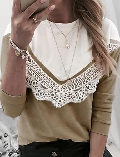 billige Dametopper-T-skjorte Dame - Fargeblokk Kakifarget