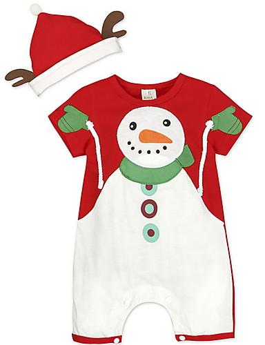 preiswerte Baby & Kinder-Baby Jungen Street Schick Druck / Weihnachten Langarm Standard Baumwolle Kleidungs Set Rote