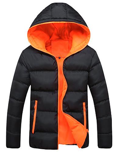 levne Pánské kabáty a parky-Pánské Jednobarevné S vycpávkou, Polyester Černá / Světle modrá / Vodní modrá US32 / UK32 / EU40 / US34 / UK34 / EU42
