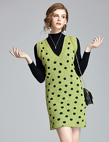billige Todelt dress til damer-Dame Vintage / Grunnleggende Genser Kjoler Polkadotter