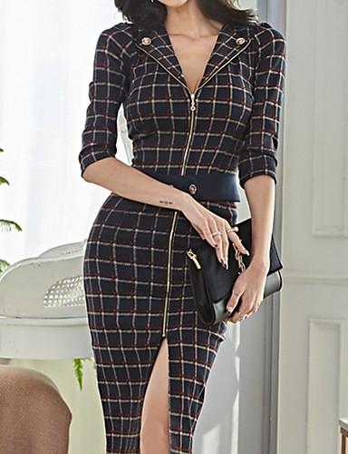 levne Pracovní šaty-Dámské Elegantní Bodycon Šaty - Pléd Délka ke kolenům