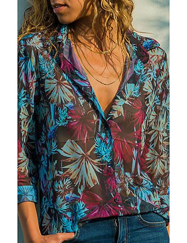 billige Dametopper-Skjorte Dame - Geometrisk, Trykt mønster Forretning / Vintage Tropisk blad Blå
