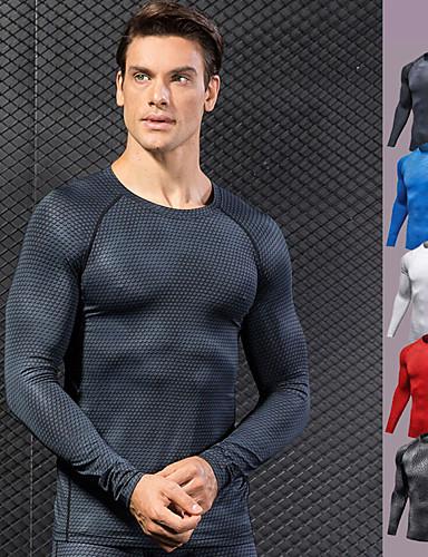 povoljno Vježbanje, fitness i joga-Muškarci Kompresijska košulja 3D ispis Crn Obala Crvena Plava Siva Spandex Trčanje Fitness Trening u teretani T-majica Temeljni sloj Veći konfekcijski brojevi Dugih rukava Sport Odjeća za rekreaciju