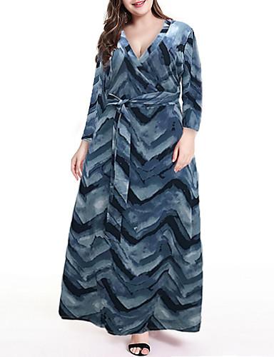 levne Šaty velkých velikostí-Dámské Cikánský Elegantní Swing Šaty - Květinový, Šňůrky Maxi