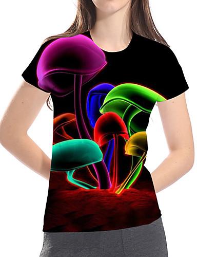 billige Dametopper-T-skjorte Dame - 3D / Regnbue / Grafisk, Trykt mønster Grunnleggende / overdrevet Svart