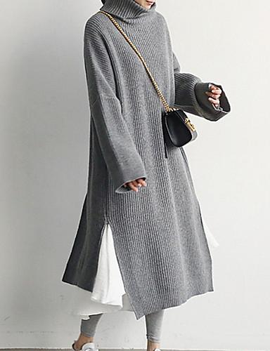 levne Pracovní šaty-Dámské Košile Šaty - Jednobarevné Maxi