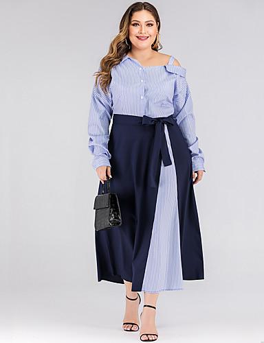 levne Šaty velkých velikostí-Dámské Základní Pouzdro Šaty - Proužky, Mašle Mini