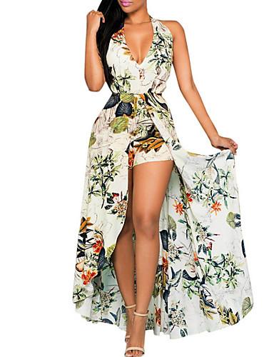 levne Maxi šaty-Dámské Elegantní Swing Šaty - Květinový, Volná záda Tisk Asymetrické