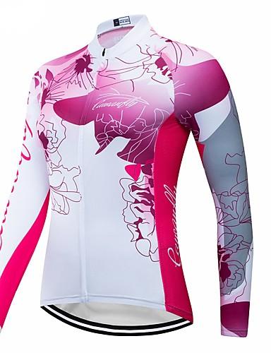 abordables Maillots de Cyclisme-CAWANFLY Femme Manches Longues Maillot Velo Cyclisme Blanche Cyclisme Maillot Hauts / Top VTT Vélo tout terrain Vélo Route Respirable Séchage rapide Des sports Térylène Vêtement Tenue / Avancé