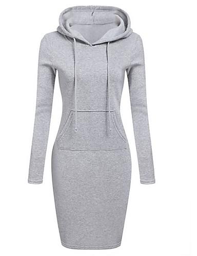preiswerte Casual Kleider-Damen Bodycon Kleid Solide Knielang