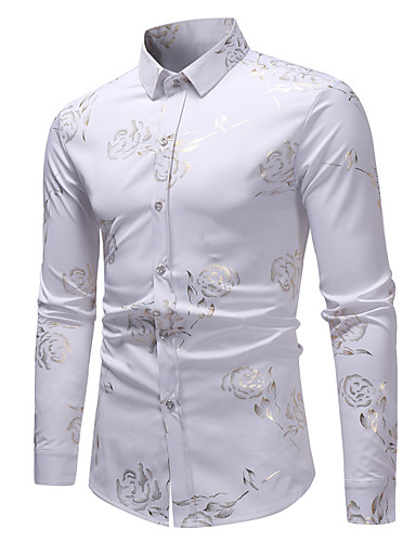 cheap Top Sellers-Men's Daily Shirt Floral Print Long Sleeve Tops Basic Elegant White Black Wine