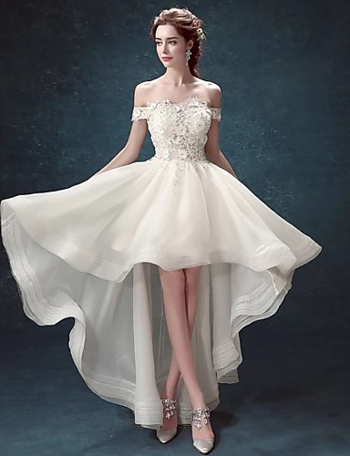 cheap Special Occasion Dresses-A-Line Sexy Prom Formal Evening Dress Off Shoulder Short Sleeve Asymmetrical Lace Organza with Appliques 2020