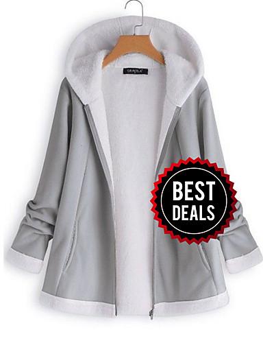preiswerte Damenbekleidung Ausverkauf-Damen Alltag Winter Standard Jacke, Solide Mit Kapuze Langarm Polyester Grau / Wein / Khaki