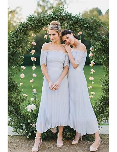 cheap Bridesmaid Dresses-A-Line Off Shoulder Tea Length Chiffon Bridesmaid Dress with Lace