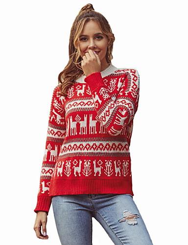 preiswerte ChristmasJumpers-Damen Weihnachten Tier Langarm Pullover Pullover Jumper, Rundhalsausschnitt Rote S / M
