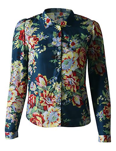 billige Bluser-Bluse Dame - Geometrisk / Fargeblokk, Trykt mønster Marineblå